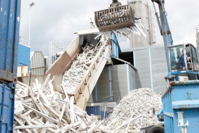 Old windows are taken to recycling plant